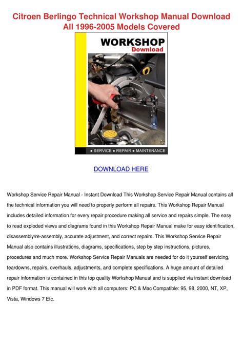 Citroen Berlingo Technical Workshop Manual Do By Pat