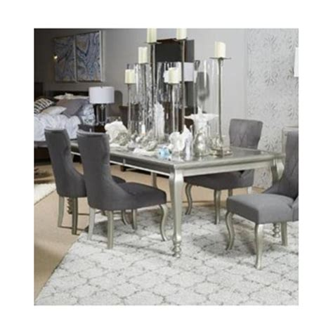 silver dining room chairs silver dining room table d650 35 ashley furniture
