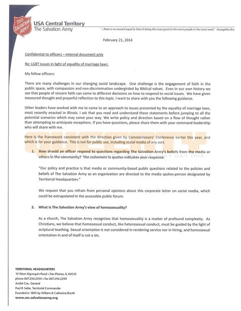Salvation Army Community Service Letter busted leaked salvation army document shows it s still