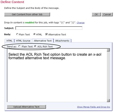format html or text appendix d aol rich text format