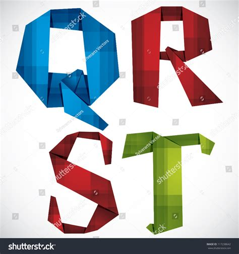 Origami Letter T - origami style font colorful vector letters q r s t