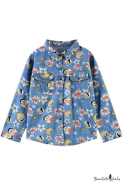 Blouse Doraemon doraemon pattern sleeve denim shirt with