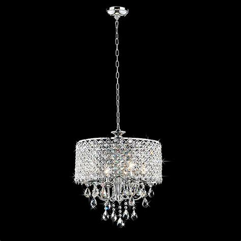 chrome finish 4 light round chandelier contemporary
