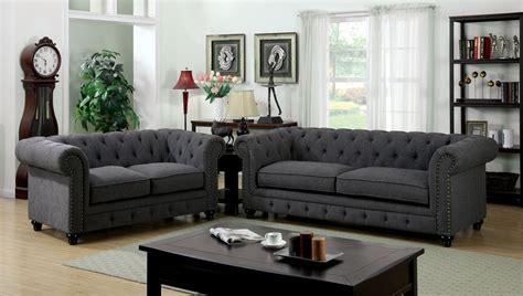 piece stanford gray fabric sofa set foa sf