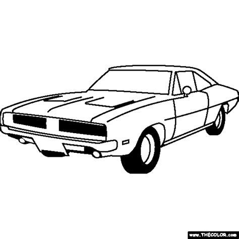 dodge hemi charger 1968 coloring page coloring pages