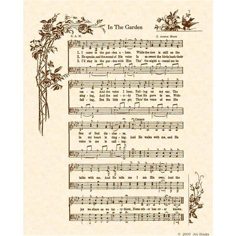 printable lyrics in the garden in the garden 8 x 10 antique hymn art print on by