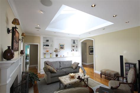 The Skylight Room by Living Room With Large Skylight