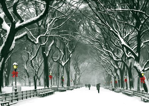 central park snowy path at christmas painting by elaine