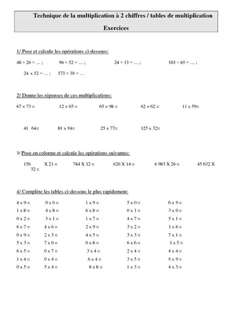 table de multiplication exercice cm1 search results for multiplication tables pdf calendar 2015