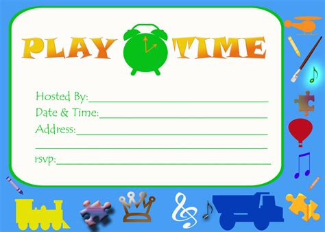 Playdate Cards Printable Template by Play Date Invitations Free Printable Invitationjpg