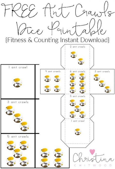 printable exercise dice free kids printables archives christina chitwood