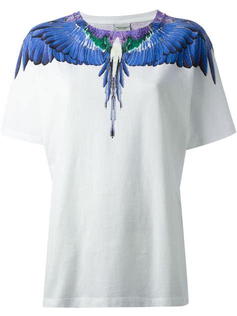 marcelo burlon feather print tshirt in blue lyst