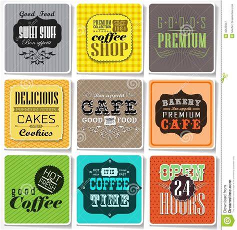 coffee shop retro design retro labels and typography royalty free stock