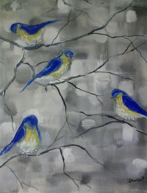 acrylic painting on canvas birds acrylic blue birds canvas painting