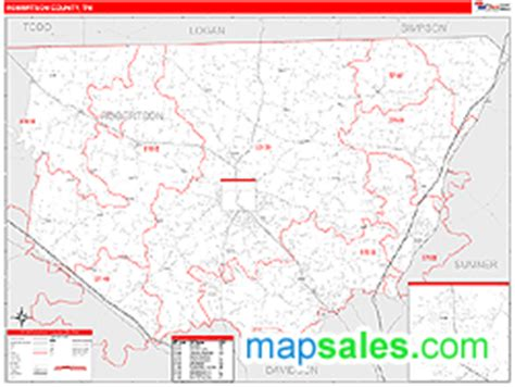 robertson county map robertson county tn zip code wall map line style by