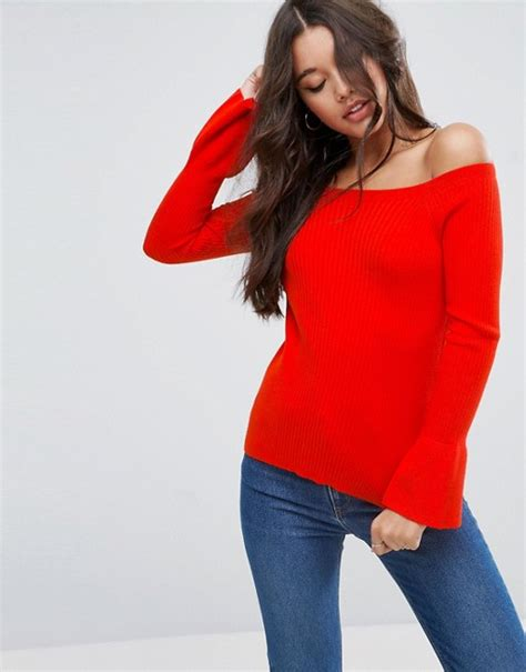 asos pattern jumper with sheer sleeves asos asos jumper in rib with off shoulder and fluted sleeves