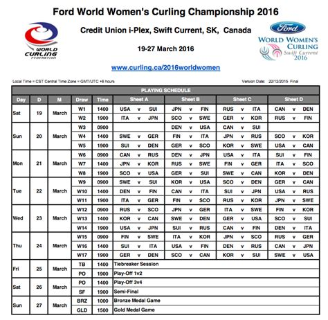 printable world junior schedule draw schedule 187 2016 ford world women s curling chionship