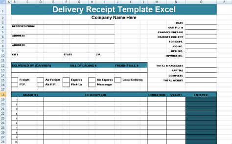 get delivery receipt template excel xls project