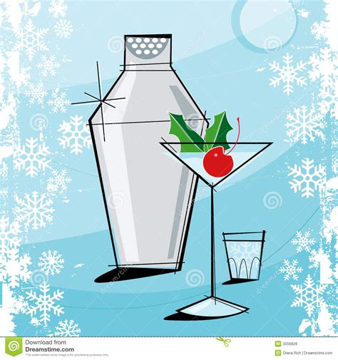 christmas cocktails vintage retro style christmas stock vector image 3056826