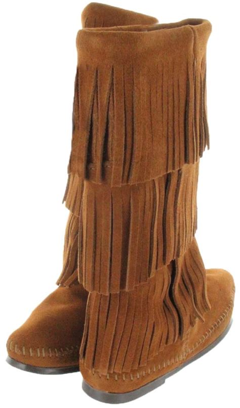 calf hi 3 layer fringe boot in brown by minnetonka