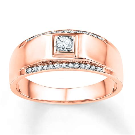 mens wedding band  ct tw diamonds  rose gold