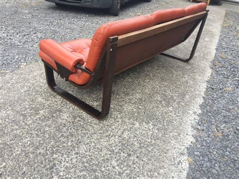 orange leather bench scandinavian style bench in laminated wood and orange