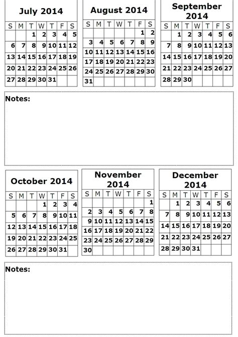 6 best images of printable month calendar 2014 6 month