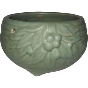 mccoy pottery matte green hanging planter from