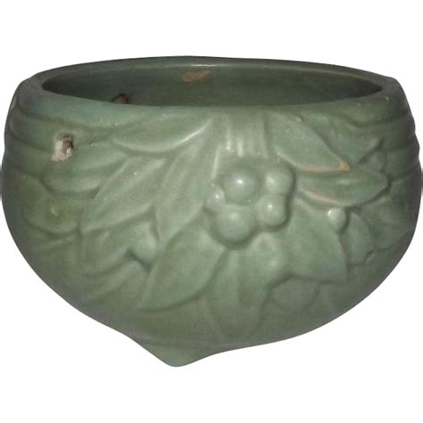 Pottery Hanging Planter by Mccoy Pottery Matte Green Hanging Planter From