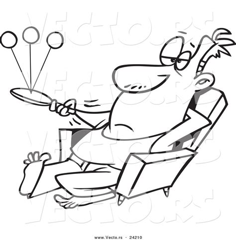 lazy person coloring page vector of a cartoon lazy man playing paddle ball