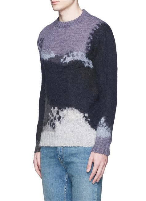 Blue Abstract Sweater ps by paul smith abstract pattern intarsia mohair blend sweater in blue for lyst