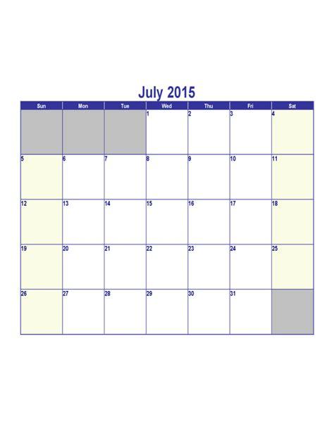 Calendar 2015 July July 2015 Calendar Free