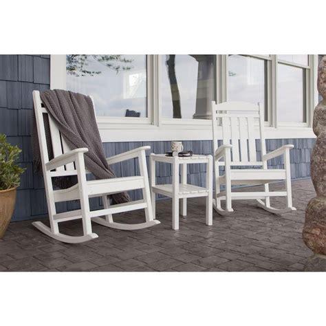 polywood presidential white plastic patio rocking chair polywood presidential white 3 patio rocker set