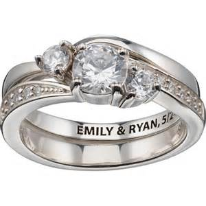 wedding ring sets walmart personalized sterling silver 2 engraved cz wedding