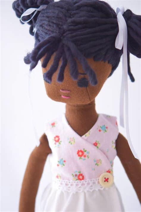 Handmade Black Rag Dolls - rag doll with wardrobe handmade american cloth
