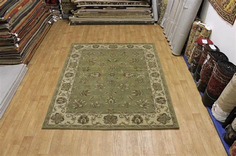 Green Area Rug 8x10 Green Allover Floral 8x10 Kashan Area Rug Wool Carpet Ebay
