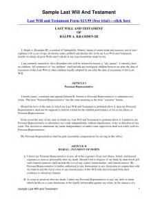 last will and testament template ontario sle last will and testament