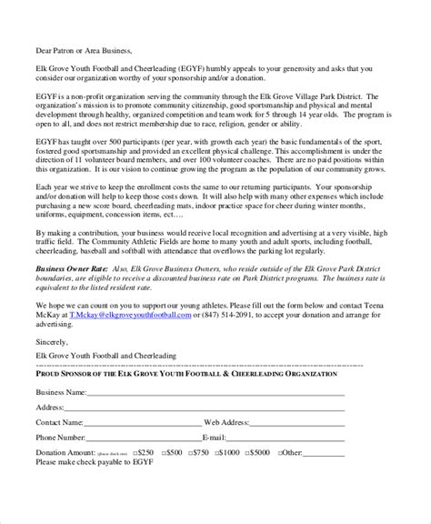 Youth Fundraising Letter Sle Sports Sponsorship Letter 6 Documents In Pdf