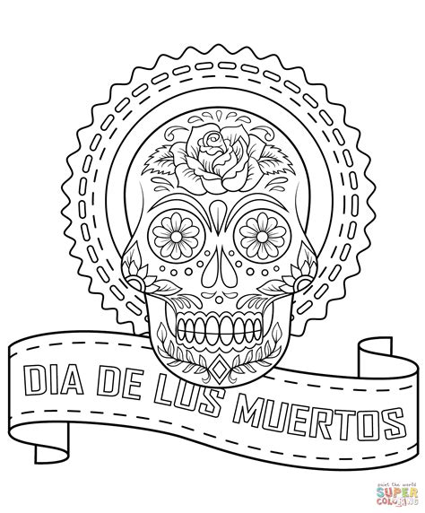Dia De Los Muertos Sugar Skull Coloring Page Free Day Of The Dead Altar Coloring Pages