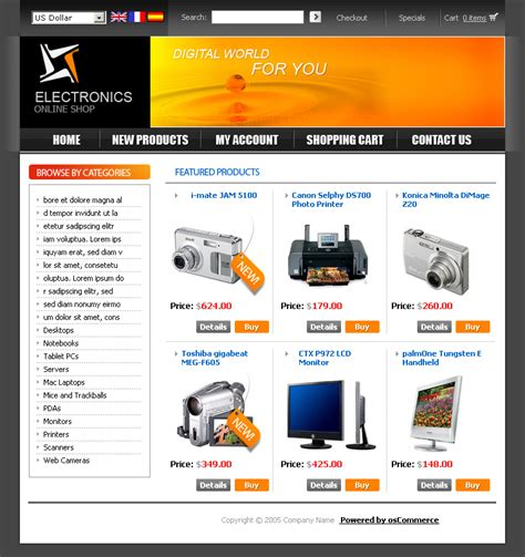 Built In Oscommerce Templates Hostricity Com Oscommerce Templates Free