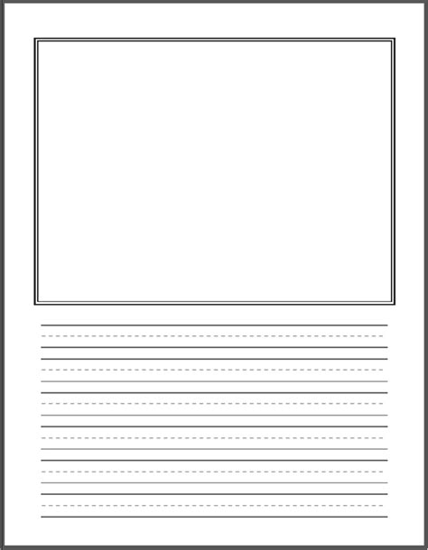 printable lined paper with drawing box primary writing paper with picture box 28 images