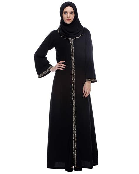Abaya India New 6 classic black abaya with golden zari embroidery