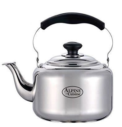 induction electric tea kettle large 3 liter alpine cuisine polished mirror finish stainless steel whistling capsule base
