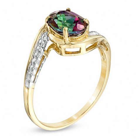 oval mystic 174 topaz ring in 10k gold gemstone rings