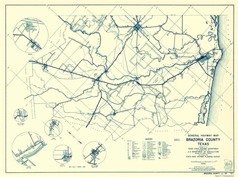 Brazoria County Civil Search County Maps Brazoria County Hwy Map 1 Of 2 By St Hwy Dept 1936