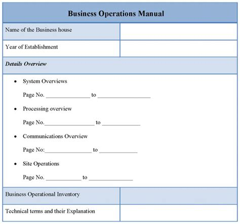 restaurant operations manual template free operational manual template template business