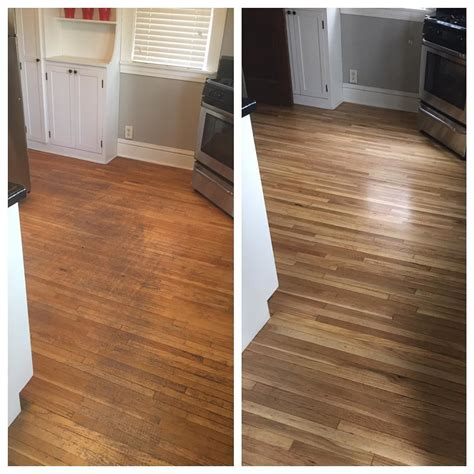 Before and after floor refinishing. Looks amazing!! : ) #