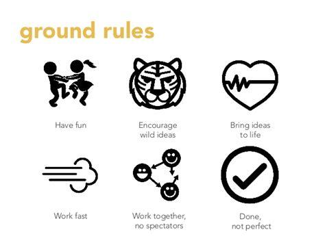 design thinking jokes ground rules have fun encourage