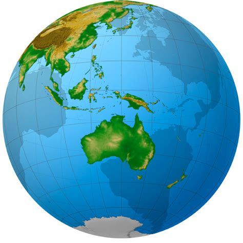 australia globe map australia oceania countries and capitals it all