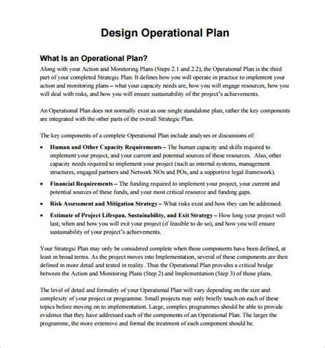 layout design operations management pdf operational plan template 13 free word pdf documents